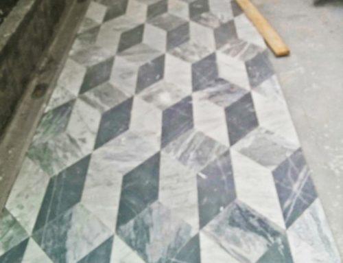 Fornitura eseguita Universita' di Genova – Pavimento esterno 3 colorazioni di marmo